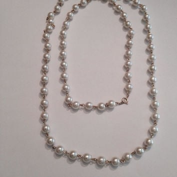 Vintage Faux Pearl Necklace Costume Jewelry Bride Wedding Party