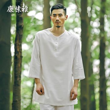 Man White Yoga Set Solid Large Size Yoga Shirt Pants Zen Meditation Kong Fu Clothing Man Sportswear Set Gym Yoga Suit Tracksuit