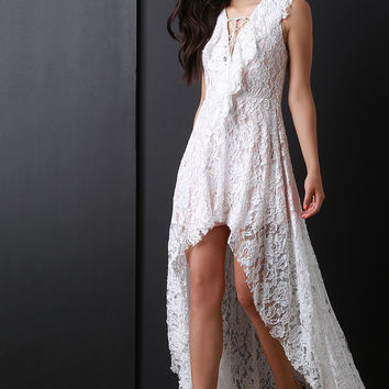 Ruffle Lace High Low Maxi Dress