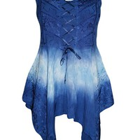 Womens Blouse Corset Lace Up Handkerchief Hem Blue Tie- Dye Bohemian Tank M…: Amazon.ca: Clothing & Accessories