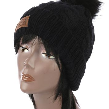 Black Faux Fur Pom Pom Cable Knit Winter Beanie Hat And Cap