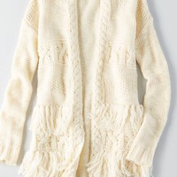 AEO Fringe Open Cardigan , Cream | American Eagle Outfitters