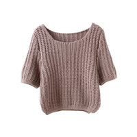 Casual Knitted Half Sleeve Sweater