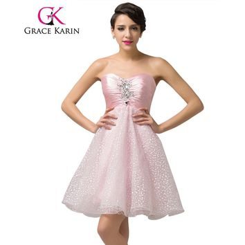 Grace Karin Strapless Beading Back to School Short Pink Prom Dresses Ruched Ball Gown Satin Organza Party Gowns Dress Clearance