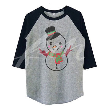Funny snowman raglan shirt for kids toddlers boys girls tops Baby clothes **kids clothings