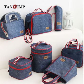 TANGIMP Lancheira thermo Lunch Bags Cooler Insulated for Women Men Kid Thermal Lunchbox Food Picnic Bag Handbag Tote Denim Blue