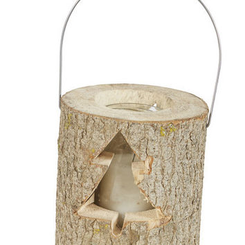 Black Forest Log Lantern with Tree