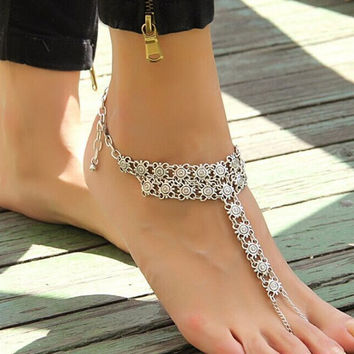 Bohemia Vintage Silver Plated Carved Round Coin Slave Turkish Anklet for Women Barefoot Sandals Beach Anklets Jeweley T5075