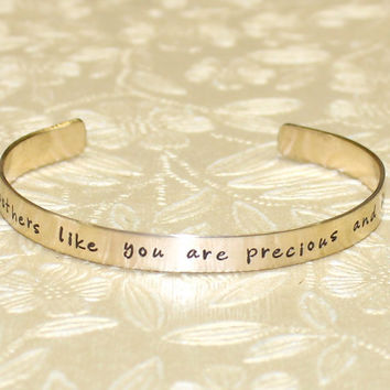 Godmother Gift - Godmothers like you are precious and few Custom Personalized Hand Stamped Brass Cuff Bracelet by Laiton Doux