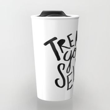 Treat Yo Self Travel Mug by Leah Flores | Society6