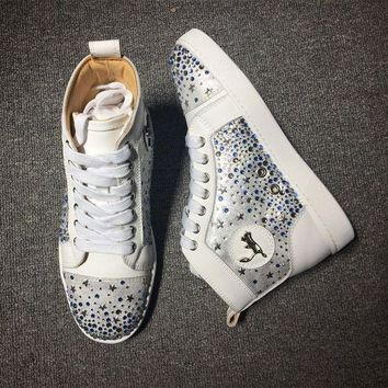 DCCK Cl Christian Louboutin Rhinestone Mid Strass Style #1914 Sneakers Fashion Shoes