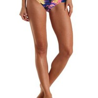 Tropical Print Ruched Bikini Bottoms by Charlotte Russe - Blue Combo