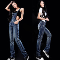 New Popular Women's Overalls Denim Jeans Suspender Trousers Jumpsuits = 1930177860