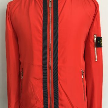 Discount stone island men's fashion clothes red casual trench coat