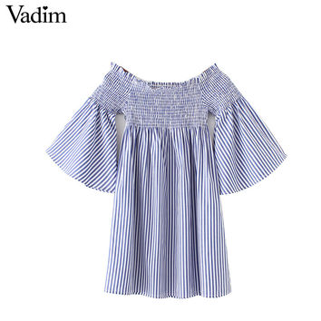 Vadim women elegant off shoulder slash neck striped dress flare sleeve elastic bust pleated ladies casual mini dress QZ2943