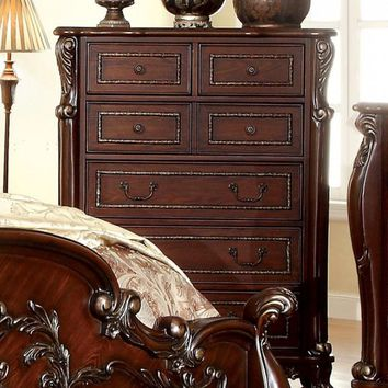 7 Drawer Chest with Intricate Wooden Carvings, Cherry Brown