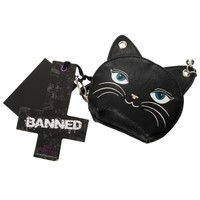 Banned Gothic Emo Punk Meow Feline Black Cat Neko Coin Purse