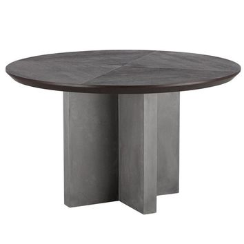 """Repalm 51"""" Round Dining Table - Concrete Base with Wood Top"""
