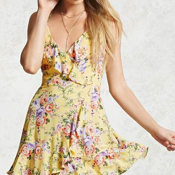 Floral Surplice Cami Dress