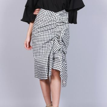 Check Plaid Ruched Ruffle Midi Skirt