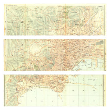 1927 Naples City Map, Triptycht Town Plan, Street Plan, Large City Map Italy