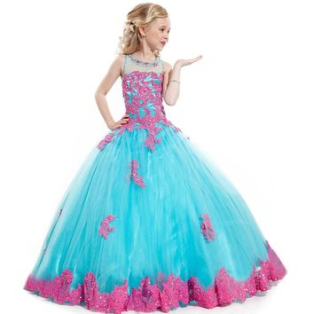 Beaded Tulle Red Applique Embroidery Girls Glitz Pageant Dresses Little Girls Gown Gorgeous Pageant dresses for 12 year olds