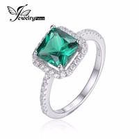 JewelryPalace Square 1.8ct Created Nano Russian Emerald 925 Sterling Silver Ring Fine Jewelry for Women New Brand  Fashion Ring