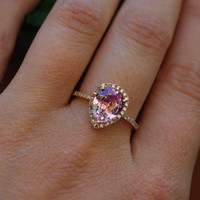 Pink Sapphire Engagement Ring 14k Rose Gold 2.5ct, Pear Cut Peach Sapphire Ring