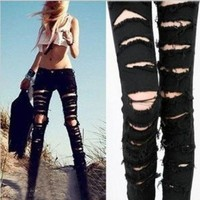 DCCKIX3 Black Cotton Denim Ripped Punk Cut-out Women Skinny pants Jeans Jeggings Trousers Size SML = 1930111684