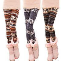 Snow Flake Print Leggings for Women A(1121F)