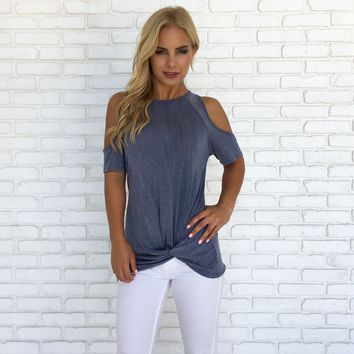Twisted Cold Shoulder Top in Blue