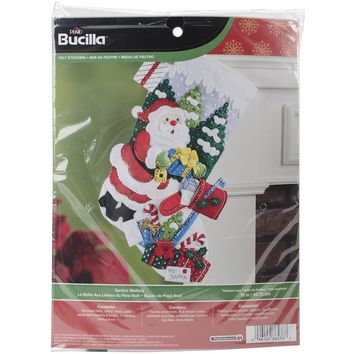 "Santa's Mailbox Bucilla Felt Stocking Applique Kit 18"" Long"