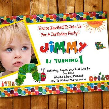 Very Hungry Caterpillar Colorful Candy, Birthday Invitation, Birthday Party for little boy and little girl