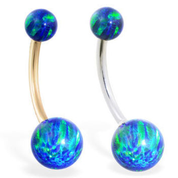 14K solid gold Gorgeous Blue Green Opal Belly Ring