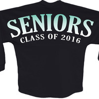 Seniors class of 2016 blue pom print J america shirt