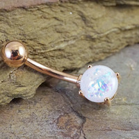 White Opal Rose Gold Belly Button Ring
