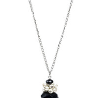Black Crystal & Pearl Drop Necklace