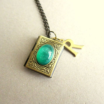 Locket Necklace Personalized Bridesmaids Gift Custom Locket Initials Vintage Style Book Locket Emerald Green Stone LOTR Antique Brass Gold