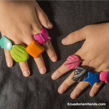 Pack of Rings - Tagua Jewelry Tropicolor - Line Captivate