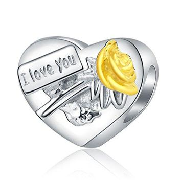 Amatolove Jewelry I Love You My Wife Idear Gifts from Husband 925 Sterling Silver Charms for Bracelets Anniversary Wedding Jewelry for Mothers Day Gold Plated Rose