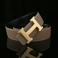 HERMES Woman Fashion Smooth Buckle Belt Leather Belt H-A-GFPDPF-5