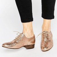 Dune | Dune Ferne Rose Gold Leather Brogue Flat Shoes at ASOS