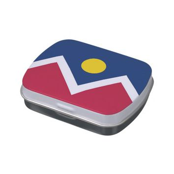 Patriotic candy tins with Flag of Denver