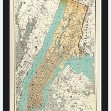 Old Map of New York, United States 1895 Manhattan