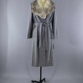 Vintage 1980s Grey Wool Coat / Rabbit Fur Collar / Bonders