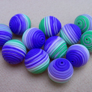Handmade Polymer Clay Beads, set of 12, 16 mm, purple green