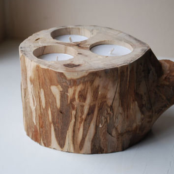 Small Wood Candle Holder- Winter Home Decor- Rustic- Weddings- Parties- Center Piece