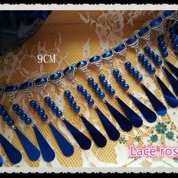 Sapphire blue Fringe beaded sequins lace trim Tassel lace ribbon weaving rope trimming Diy Dance dress COS garment accessories
