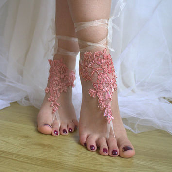 Barefoot, coral, lace wedding sandals, free shipping!