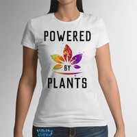 Vegan T-Shirt Womens Vegetarian Tee Powered by Plans